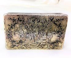Snuffbox, Russian silver - ST. George slaying the dragon - 18th century