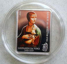 Cook Islands – 5 dollars 2009 'Leonardo da Vinci / Lady with an ermine' with Swarovski stones – 25 g silver