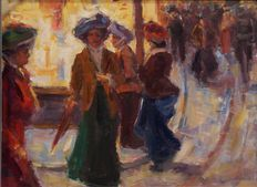 Unknown - Strolling ladies in shopping street