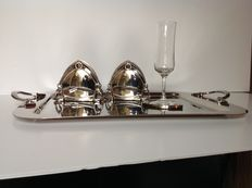 Silea - silver plated serving tray and 8 silver plated coasters in 2 holders