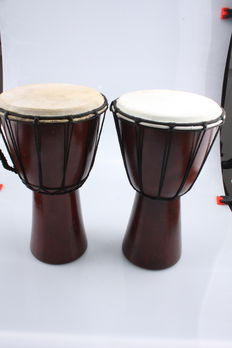 Djembe s 30 cm  made of Magony wood with goat skin - Indonesia (2 x )