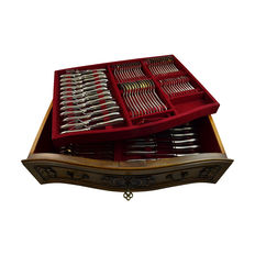 Silver 12-person table case in nut wood furniture, model point-filet, 206 pieces, Gebr. Huisman, Schoonhoven, 1970