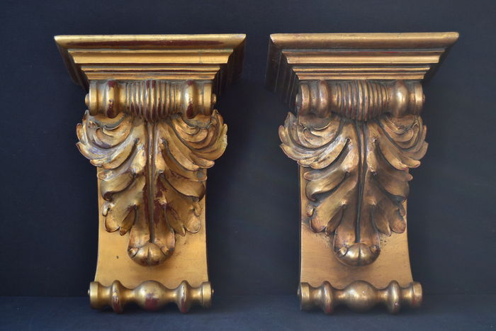 A pair of large Louis XV style giltwood corbels, France, mid 20th century