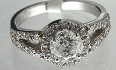White gold ring inlaid with 1.88 ct diamond.