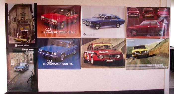 lot of 8 showroom poster British Leyland / Alfa Romeo - period 1970s