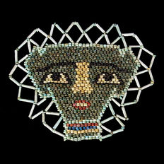 Egyptian faience beaded mask with double zig-zag border - 140 x 110 mm