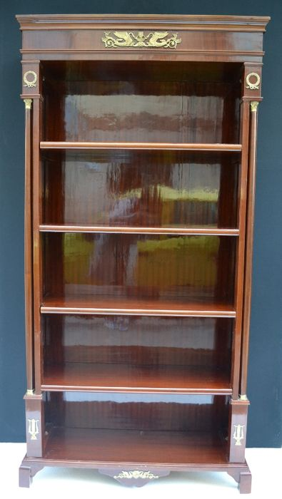Empire style veneered bookcase, with brass decorations - 20th century