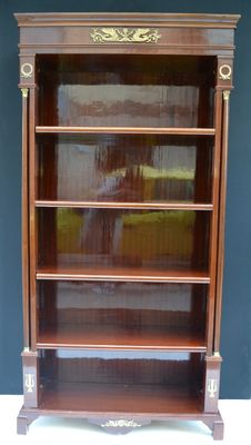 Empire style veneered bookcase, with brass decorations - 20th C
