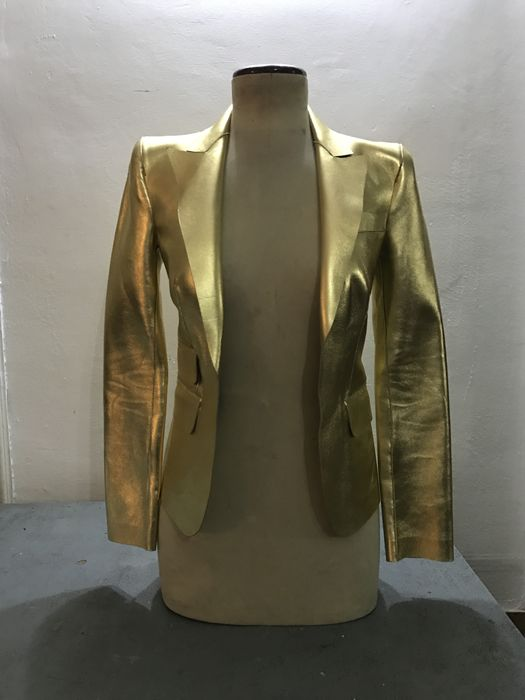 Dsquared, giacca in pelle color oro