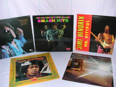 Jimi Hendrix lot of 5 classic LP's  Jimi Hendrix in the West, Re-Experienced, Mr. Pitiful. Smash Hits and Pop History.