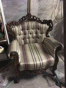Two rococo style armchairs and a sofa, second half of 20th century