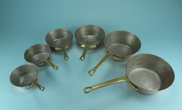 6 tin conical copper cooking pots