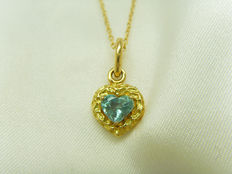 Vintage 18K yellow gold emerald necklace