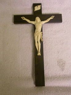 Cross with ivory christ 1860-1920 France