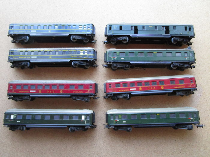 Märklin H0 - 346/1 / 346/1 BS / 346/2 / 346/3J / 346/4 - 8 different passenger carriages