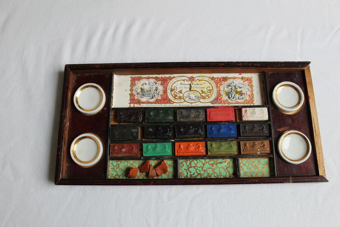 Beautiful rare Rudolph Ackermann wooden watercolor scroll box complete ca. 1810 London England