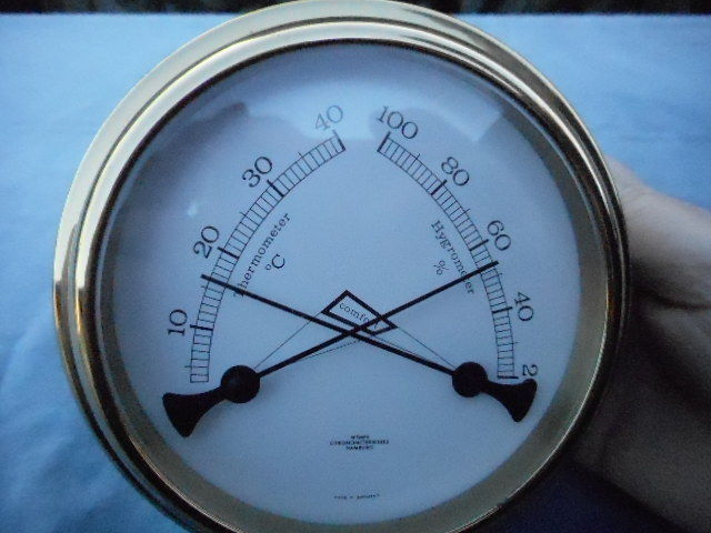Brass Ship's thermometer & Hygrometer