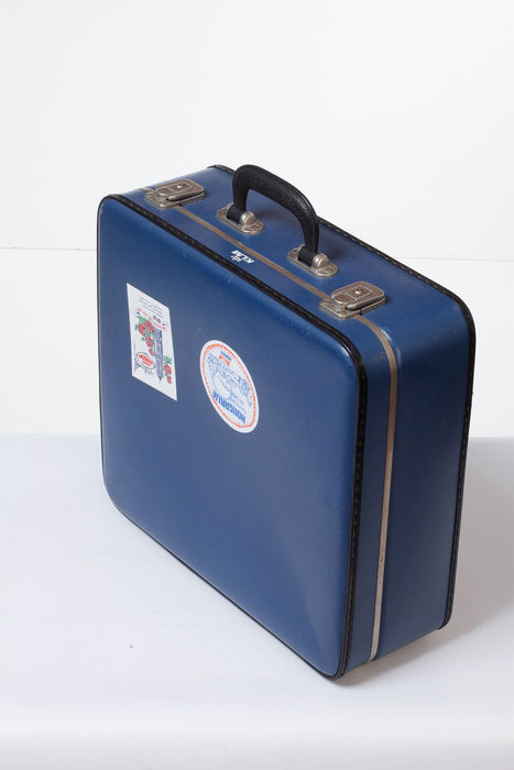 Vintage KLM flight attendants briefcase in the colour blue with 4 stickers of yesteryear.