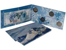 Russia - Series of 4 coins (25 Roubles), banknote (100 Roubles) Olympic games in Sochi 2014
