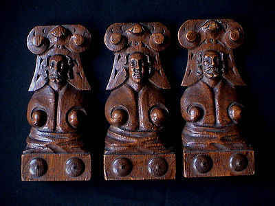 Lot of three sculpted wooden ornaments - Flanders - 19th century