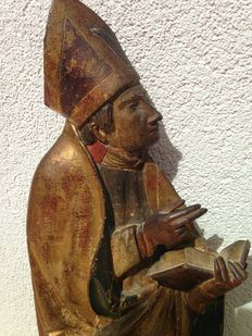 Polychrome wooden figure of a bishop - 16th century