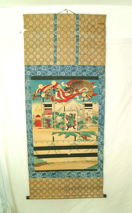A paper scroll woodblock print - Japan - approx. 1900