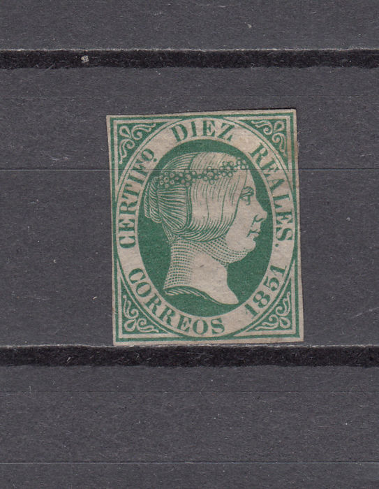 Spain 1851 – Isabel II, 10 royals, green with Comex Judgement