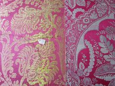 Two damask fabric samples woven in Jacquard technique, South Netherlands, 19th century.