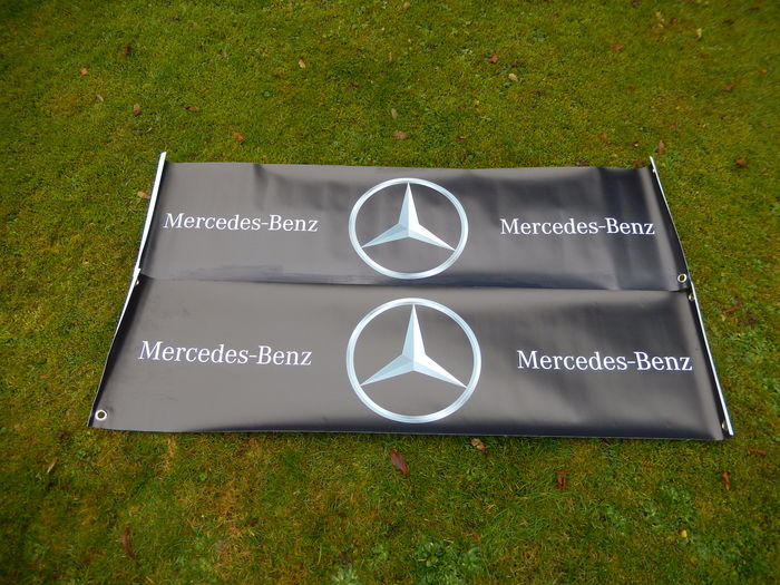 2 Large Black Silver Mercedes Benz Cars Workshop Banner 1300 mm x 330 mm with Reinforced Eyelets Strong and Waterproof