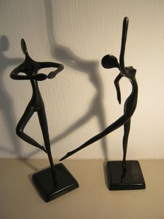 Bodrul Khalique - lot of two elegant bronzed sculptures of ballerinas
