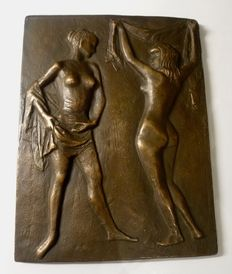 Curiosities; Bronze plaque of two naked young women - 2nd half of 20th century