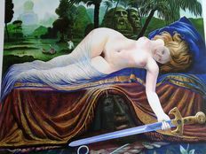 A lot consisting of two artworks by Ernst Fuchs - Judith & Lolita