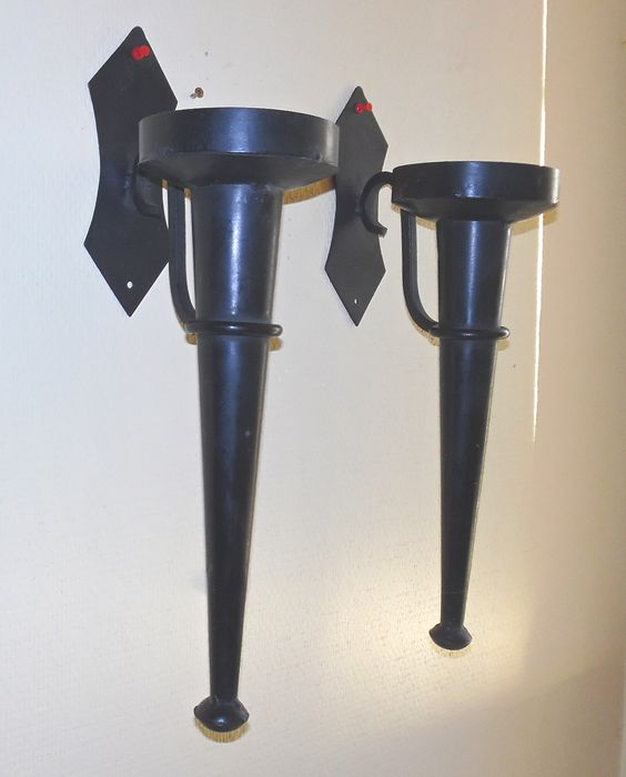 Two wrought iron Castle torches