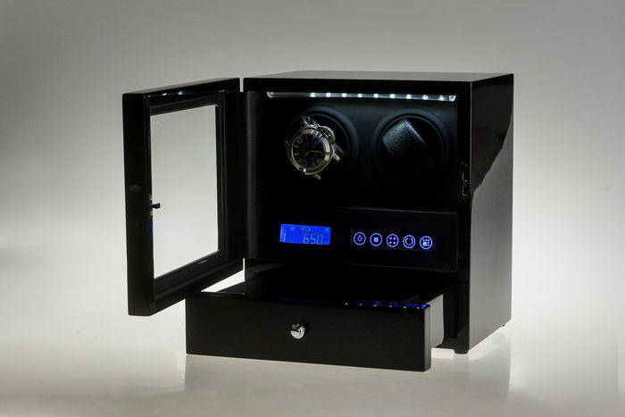 premium watch winder for 2 automatic watches plus jewellery compartment with remote control - Automatic Watch Winder