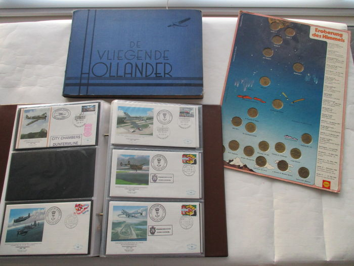 "Aviation - Picture album ""De Vliegende Hollander"" - Shell Aviation coins - first day covers"