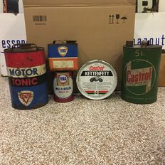Old oil jerrycan - 5 x - Castrol, Fina, Purfina