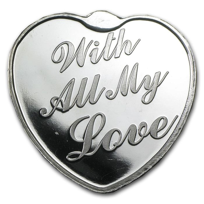 "United States - 1 oz 999 fine silver bullion - silver heart - ""With all my love"" - back side with room for engraving - in capsule"