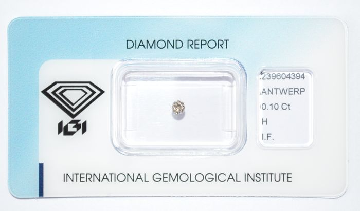 0.10 brilliant-cut diamond, H, IF