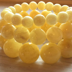 Lot of 3 Baltic amber bracelets, egg yolk and white color, dimensions - 13 -14 mm / 9-10 mm/ 16 mm