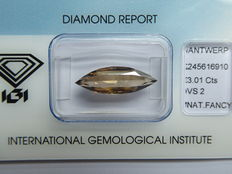 3.01 CT  Unieke  Fancy  brown diamant  met  IGI diamant certificaat