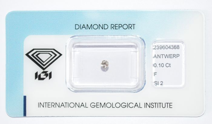 0.10 ct brilliant cut diamond, F, SI2