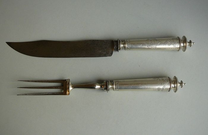 Carving cutlery with silver hilts, Germany, 19th century