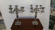 Elegant English tabletop candelabra for five candles, circa 1950