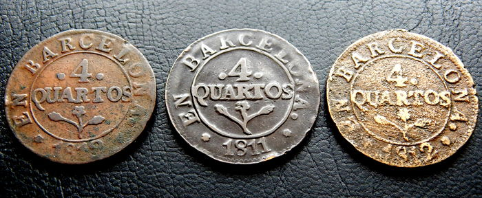 Spain – José Napoleon – Barcelona – 4 cuartos 1810, 1811 and 1812 – Batch of 3 coins