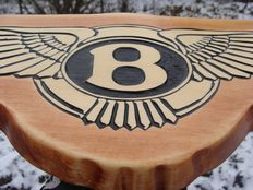 BENTLEY - Unique Big logo carved in wood - 53 x 20 cm