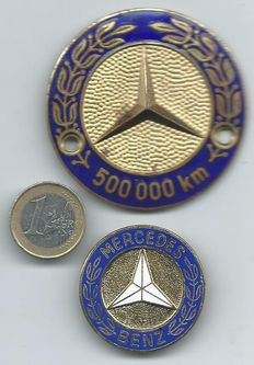 Mercedes 500.000 Kilometres Plaque ( Badge ) & Enameled brooch No 3915 Rare Collector's item from the 1950s