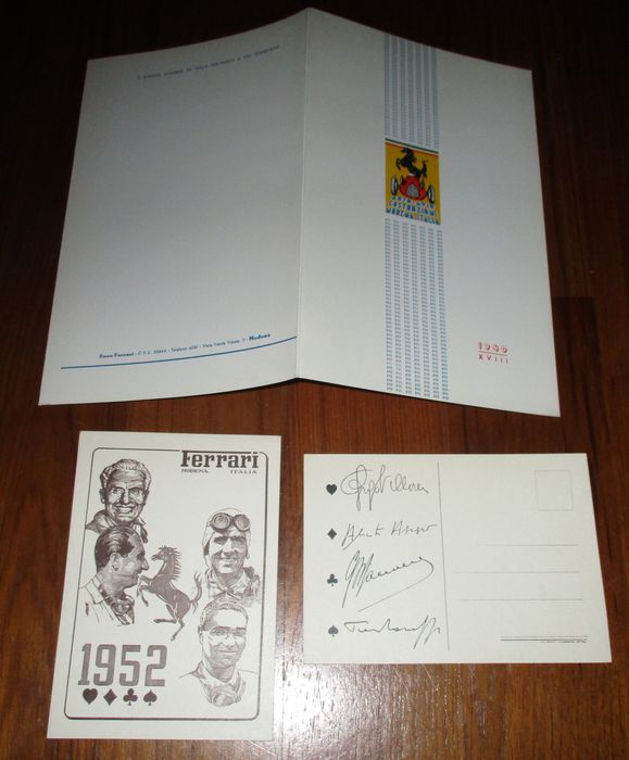 very rare official reprint Ferrari 815 Auto Avio Costruzioni Brochure + Ferrari 1852 Aces Postcards x 2