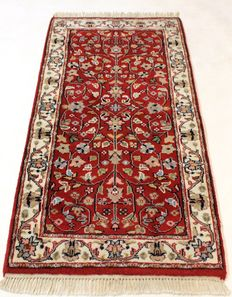 Magnificent hand-knotted oriental carpet, Indo Nain carpet, 76 x 150 cm, made in India at the end of the 20th century, very good