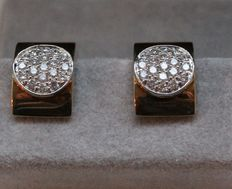 Gold hinged creole earrings with diamonds. Brand: Le Chic.