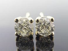 Yellow gold solitaire ear studs set with two brilliant cut diamonds, 0.62 in total *** no reserve ***